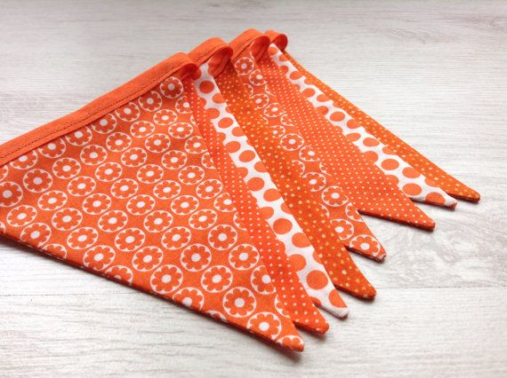 Orange Bunting/Garland in Four Coordinating Fabrics by BellaandRoo