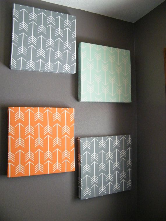 Wall Decoration Cloth : Gray mint and orange arrow design fabric wall art baby