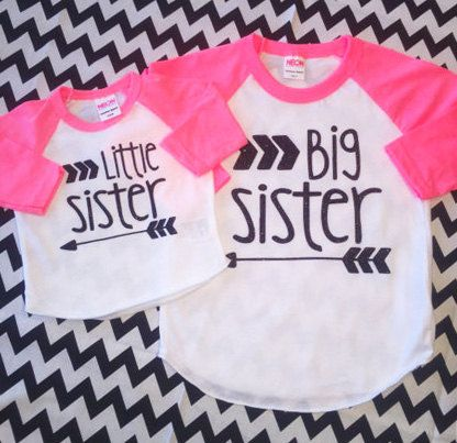Little Sister Big Sister Glitter Shirt by TheStickerGarden on Etsy