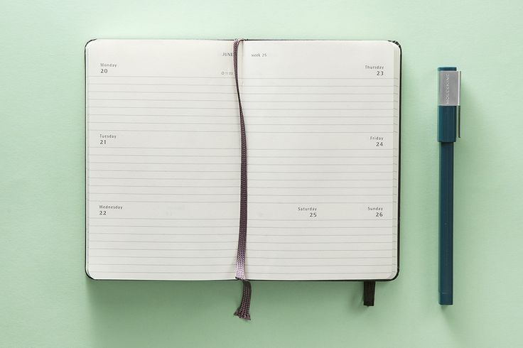 Weehly Horizontal Planner - The week on two pages, with horizontal layout