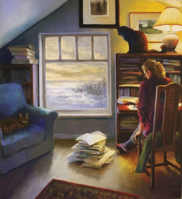 Such a comfortable room for one to relax and read and write....       Aline ♥