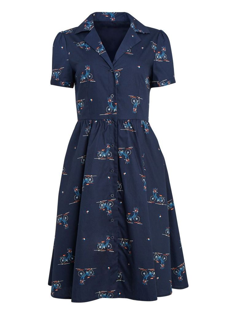 The Pepper Bicycle Print Shirt Dress is the perfect vintage-inspired, fun printed day dress. In a classic shape with a collar.