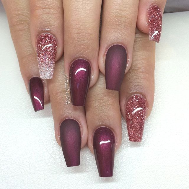 15 Nail Designs And Ideas For Coffin Acrylic Nails In 2020 Maroon Nails Burgundy Acrylic Nails Maroon Nail Designs