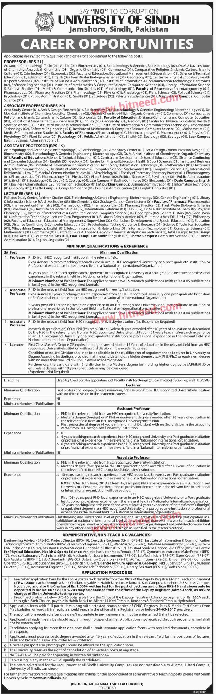 Sindh University, Jamshoro Jobs Administrative, Teaching and Non Teaching Jobs Sindh University of Jamshoro announced jobs for various teaching, non teaching and administrative vacancies as follows:  Teaching Vacancies:   	Professor (BPS-21)  Advanced Chemical/Hiqh Tech:   #AC Technician #Achieve Studies Jobs #Administrative Jobs #Advanced Chemical Jobs #Analytical Chemistry Jobs #Arabic Jobs #Assistant Director #Assistant Professor #Associate Professor #Athletic In