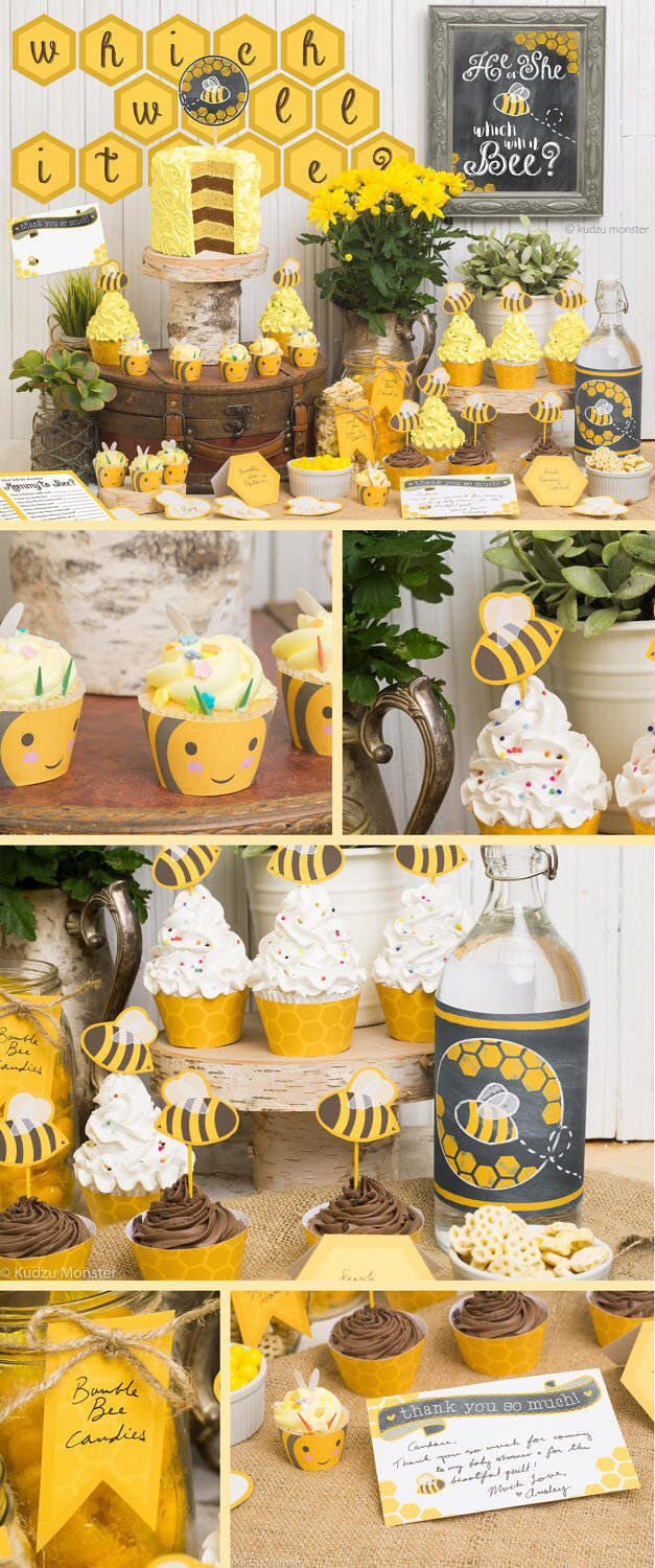Gender Reveal Baby Shower What will it bee? Printable Party Decor Kit Bumble bees, stripes, honeycomb cute rustic bee cupcake wrappers, chalkboard art print, and more by KudzuMonster on Etsy https://www.etsy.com/listing/505193082/gender-reveal-baby-shower-what-will-it