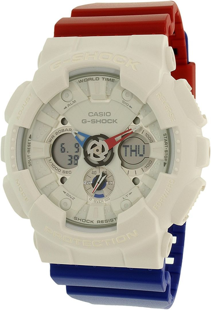 G-Shock GA-120 Tri Color Series Watches - White/Blue/Red / One Size ** Visit the image link more details. (This is an Amazon Affiliate link and I receive a commission for the sales)
