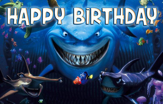 Disney Nemo Birthday Banner with shark by SpecialtyBanners on Etsy