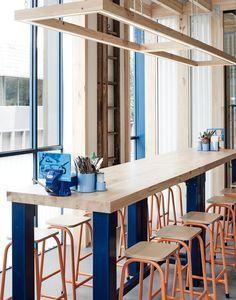 exposed timber frame highlights interior of techné's souvlaki restaurant all images © tom blachford