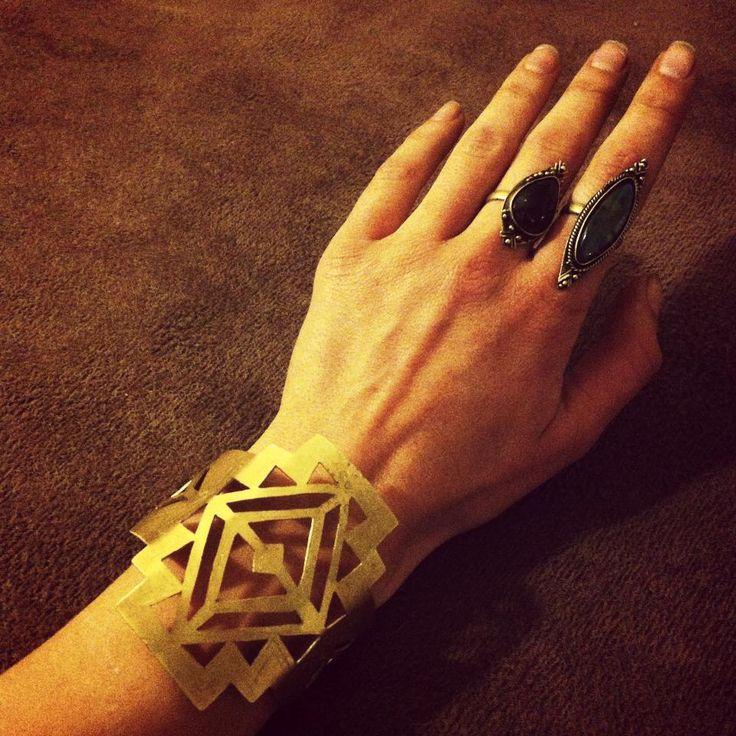 aztec brass bracelet cuff