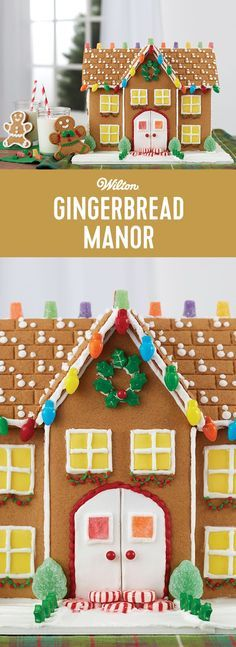 Estate-Sized Gingerbread Manor - When your gingerbread house expectations are big ones, this estate-sized manor will fulfill your wishes. Five types of candy, three colors of icing, yellow fondant and gingerbread kid cookies make this gingerbread kit experience the biggest and the best! #gingerbreadhouse #christmas #gingerbreaddecorating #wiltoncakes