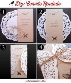Aprenda como fazer convites de casamento usando toalha de papel rendada e papel craft.                                                                                                                                                                                 Mais