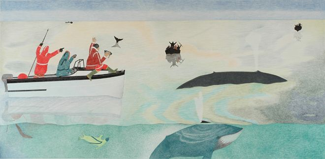 Kananginak Pootoogook at the 57th Venice Biennale. Untitled (Whale Hunt), 2009. Ink and coloured pencil on paper. 122cm x 244cm