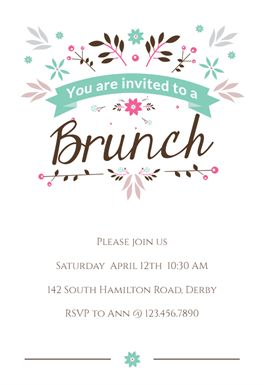 Flat Floral - Free Brunch & Lunch Invitation Template | Greetings Island