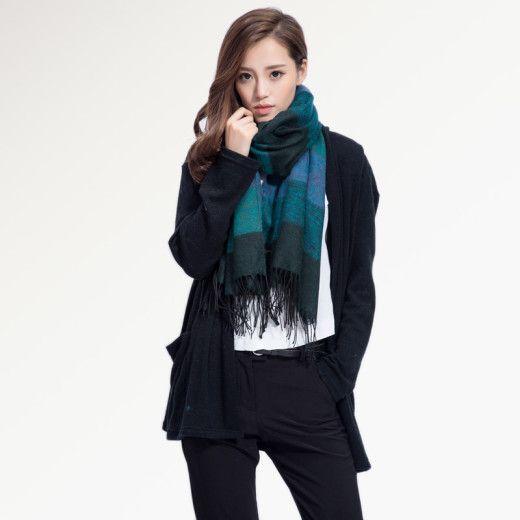 Kvalitný ručne tkaný kašmírový a bavlnený šál - model 05