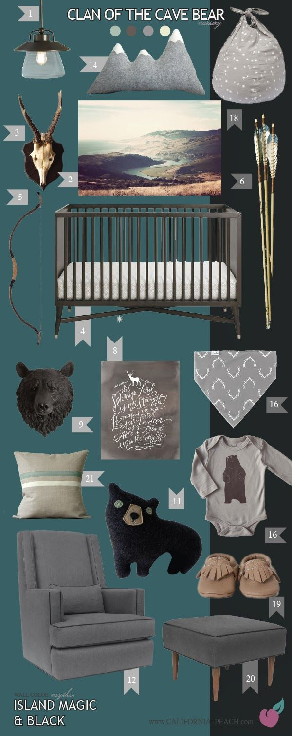 California Peach: Clan of the Cave Bear | Island Magic --  Wall Decals, Bears, Nursery, Black, Aqua, Blue, Teal, Dark, Neutral, Gender Neutral, Boy, Girl, Masculine, Arrows, Bear, Bears, Indian, Native American, Antlers, Antler, Moccasins, Bible, Christian, Bible Quote, Art, Baby Room, Nursery, Mythic Paint, Non-Toxic, Green 0VOC, Eco Friendly, Organic