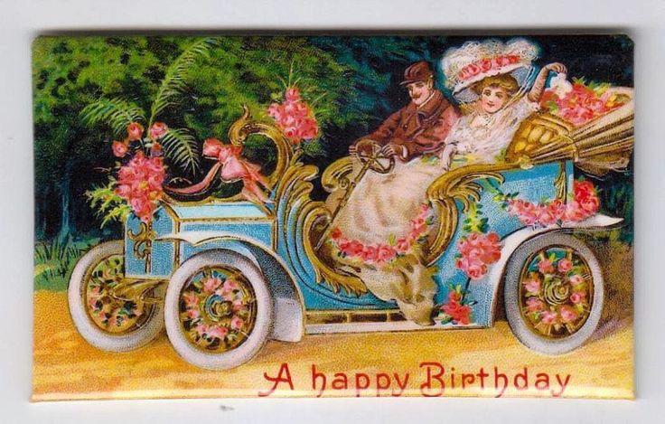 Calamita - Magnete da frigo - Buon Compleanno - Auto d'epoca con fiori
