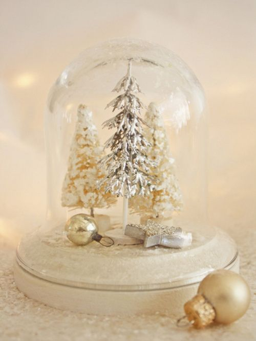 tiny treesHoliday, Christmas Time, Winter Trees, Snow Globes, Bottle Brushes, White Christmas, Glasses Dome, Christmas Decor, Christmas Trees
