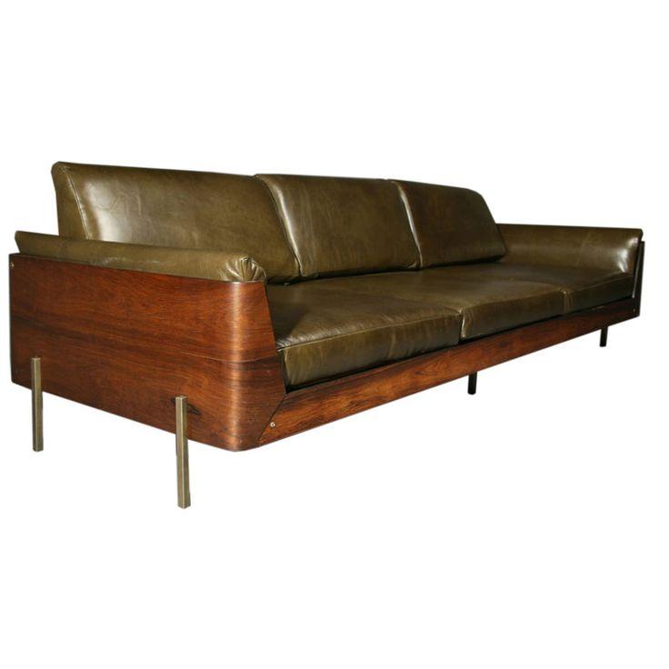 Jorge Zalszupin; Rosewood, Leather and Bronze Sofa, 1960s.