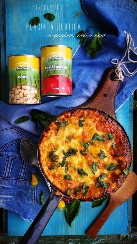 Angel's food: Placinta rustica cu spaghete, rosii si naut