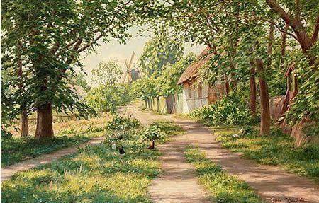 Zomers landschap met molen door Johan Krouthén, 1916