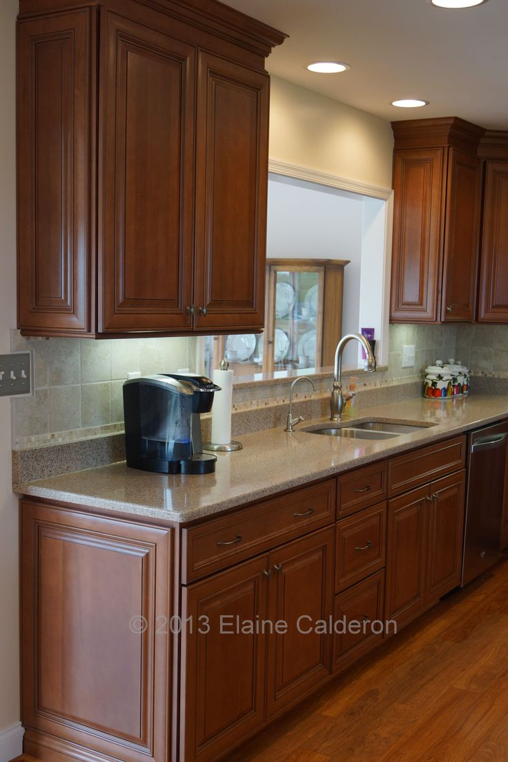 Wolf classic cabinets hudson maple door heritage brown for Black and brown kitchen cabinets