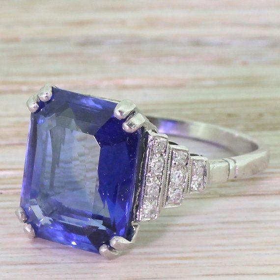 Art Deco 10.82 Carat Emerald Cut Natural Sapphire Ring, circa 1935