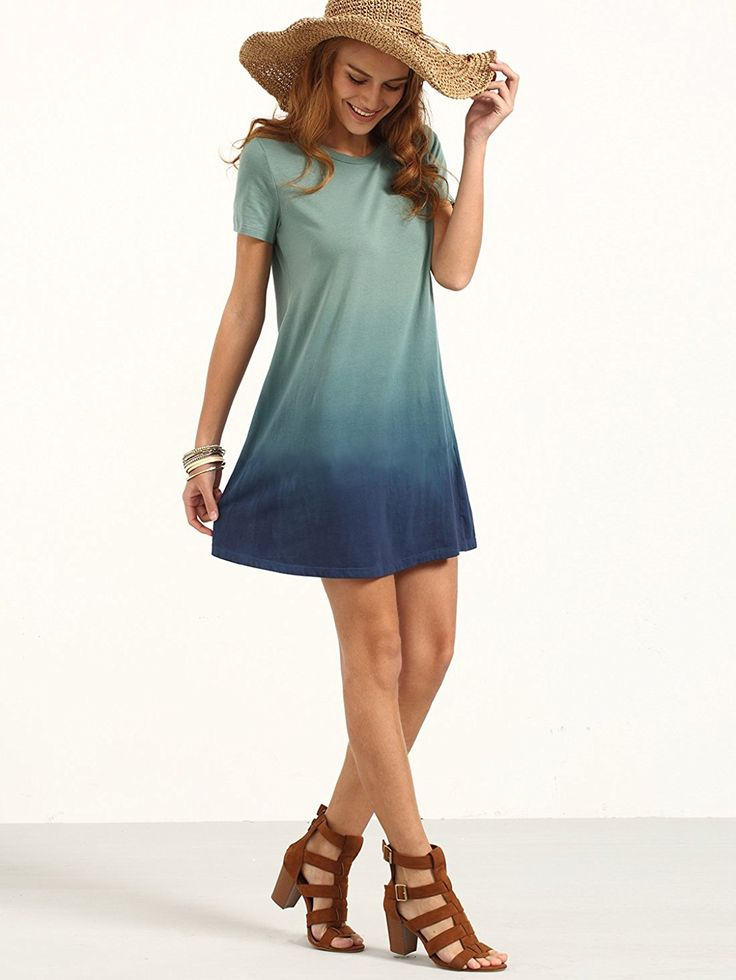 Cape Cod Clothes Part - 42: ROMWE Womenu0027s Tunic Swing T-Shirt Dress Short Sleeve Tie Dye Ombre Dress At  Amazon