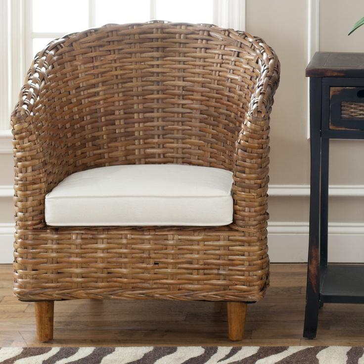 Safavieh St. Thomas Indoor Wicker Honey Brown Barrel Chair