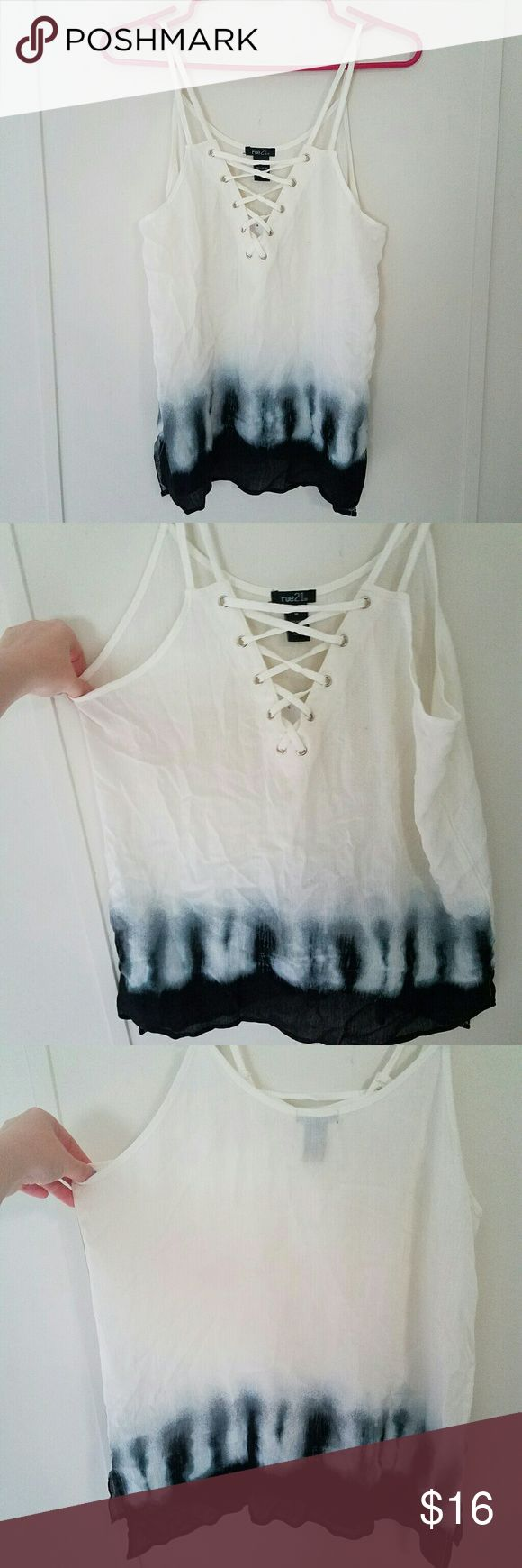 NWT! Rue 21 Lace Up Tie Dye Tank Top NEW Rue 21 gauzy top with adjustable straps. White with black tie dye design & side slits. Adjustable front! Pull down string on inside & knot it to make it more or less open. Never worn. 2 flaws (last 3 pics). 1st is tiny pink dot on front. Looks like a pen mark, might come out when washed, but not very noticeable. I believe it was bought this way. 2nd is one strap came undone while trying on at adjustment part but has been fixed by tying & still works…