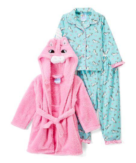e079fbe62371 Bunz Kidz Turquoise   Pink Unicorn Pajama Set   Robe - Infant ...