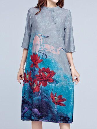 Only US$32.99 , shop Women Lotus Print Stand Color 3/4 Sleeve Dresses at Banggood.com. Buy fashion Vintage Dresses online.
