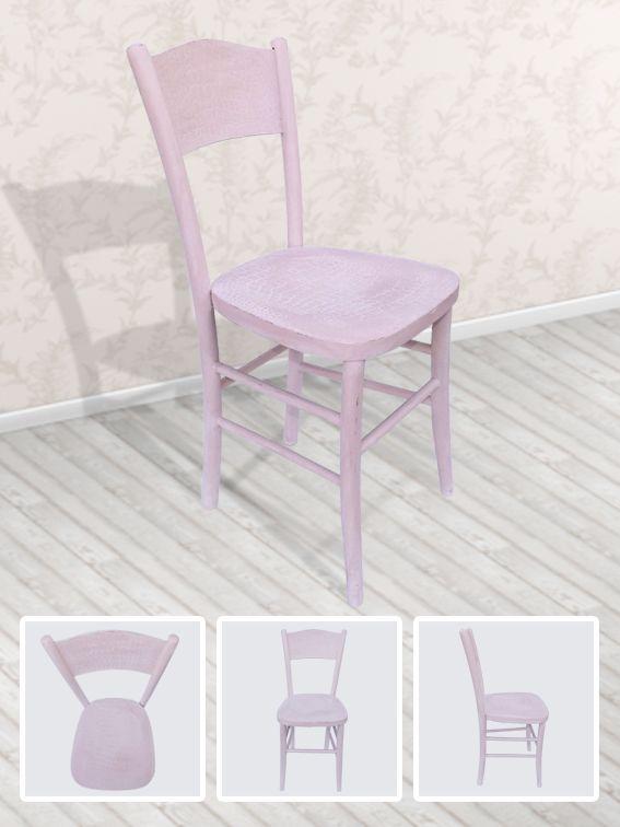 Eseguito restauro, trattamento antitarlo, dipinto con colori Annie Sloan in stile shabby chic, finitura a cera.   MISURE: seduta cm 36x38.5 - altezza schienale cm 85