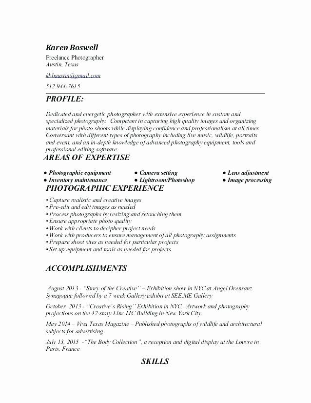 Photographer Job Description Resume Elegant Cover Letter For Grapher Elegant 11 12 Resume S In 2020 Photography Resume Photographer Resume Photographer Job Description