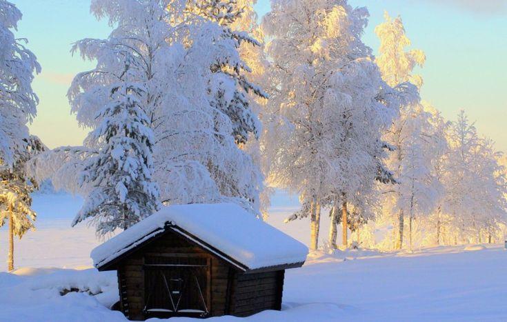 Talvista maalaismaisemaa Pellossa Länsi-Lapissa