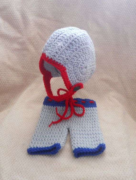 Patriots Inspired Crochet Baby Football Helmet Hat with Embroidered ...