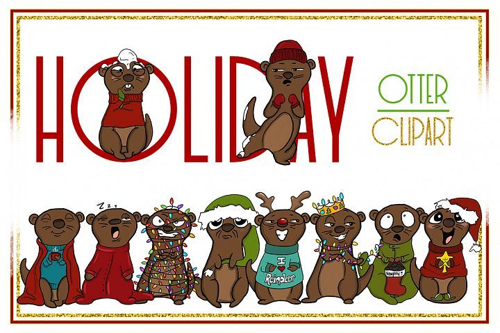 Holiday Clipart-Otter Clipart-Otter Christmas Clipart-Cartoon-Sticker Clipart-Otter art-Digital-Otter XMAS Drama-Commercial-Otter Love Font