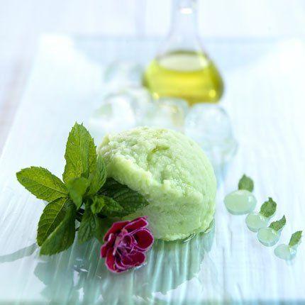 glace au yaourt,menthe et huile d'olive