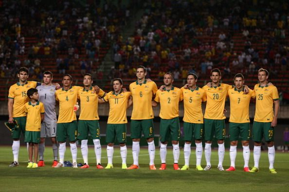 The Socceroos sing the Australian National Anthem