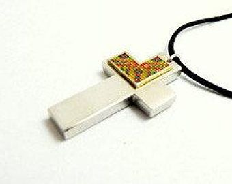 cross, pendant, Unique Jewelry Micro Enamel | Beautiful Handmade | by TopEnamelJewelry