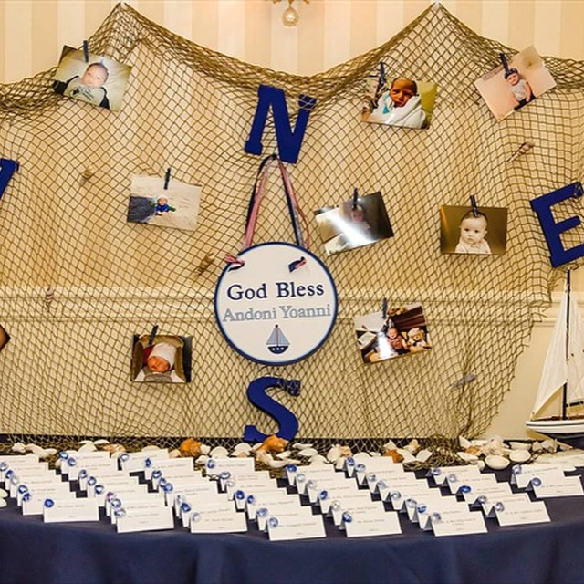 This is what I created for my sons baptism. The sign I had made but everything else was my idea. I loved the nautical theme.
