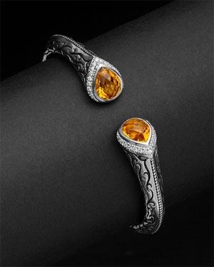Scott Kay Cypress Silver & Diamond & Citrine Bracelet