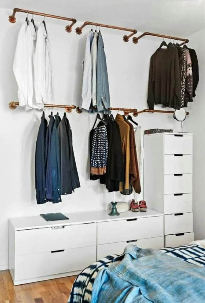 13 Creative Ways To Create A Wardrobe With Low Budget Bedroom Storage Ideas For Clothes Open Closet Open Closet Ideas