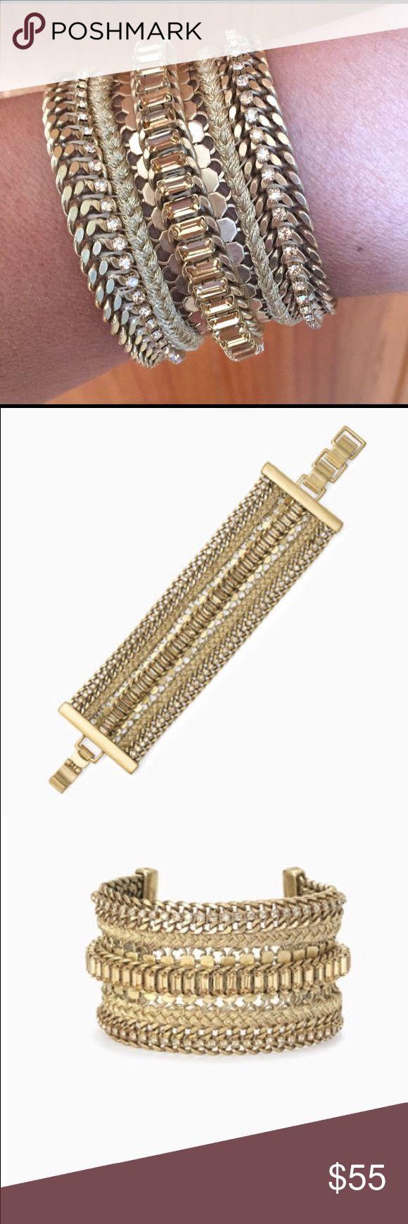 "Stella & Dot Philippa Bracelet Never worn!  New in box. Hand braided metallic thread joins dainty vintage gold chains. Vintage Gold Finish 8"" Length Fits Wrist Size SM-LG Clasp Closure Stella & Dot Jewelry Bracelets"