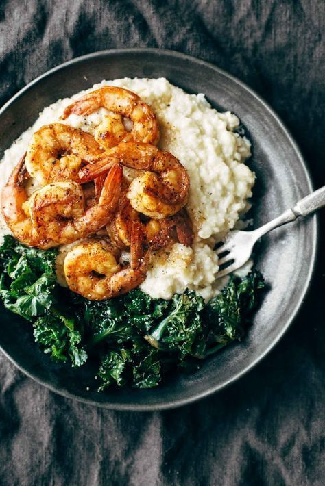 Spicy Shrimp with Cauliflower Mash and Garlic Kale - tender-sweet shrimp and smoky garlic kale over creamy cauliflower mash. DELICIOUS weeknight dinner! | pinchofyum.com