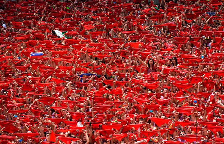 "Thousands of people gather in Pamplona, Spain to celebrate the tradition known as ""the Running of the Bulls"" that dates back to the year 1591.: Pamplona, San Fermin, Festivals, Red Scarves, Running, Photo, Spain, Sanfermin"