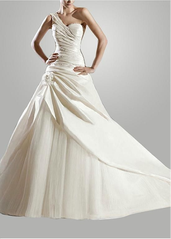 Perfect One Shoulder Sleeve Sleeveless Natural Full Length A-line Chapel Wedding Dresses