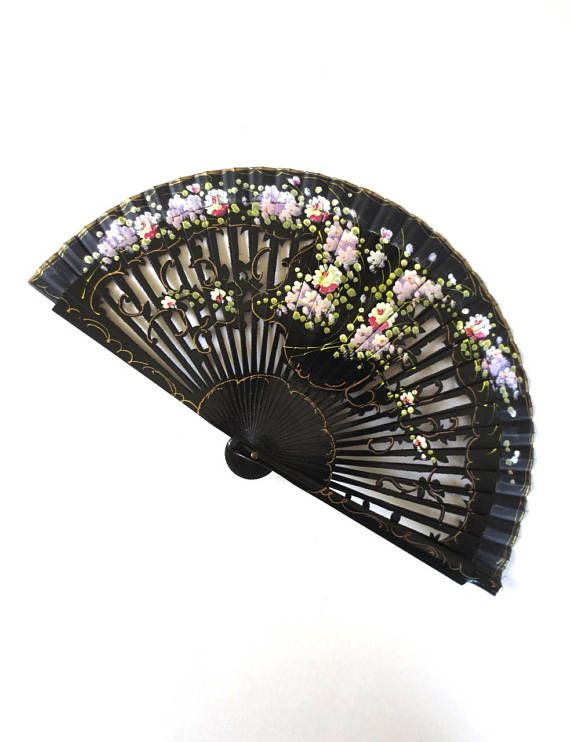 Vintage Spanish Flamenco Fan Hand Painted Black Fan Burlesque