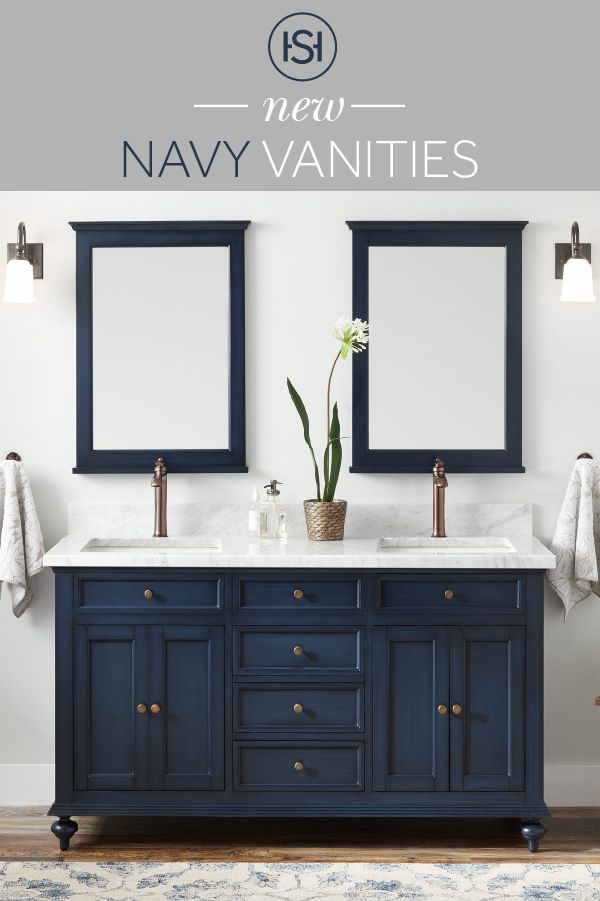 Bring Color To Your Bathroom Without Having To Paint Yourself Shop Navy Blue Vanities At Signature Hardware Blue Bathroom Vanity Blue Vanity Bathroom Interior