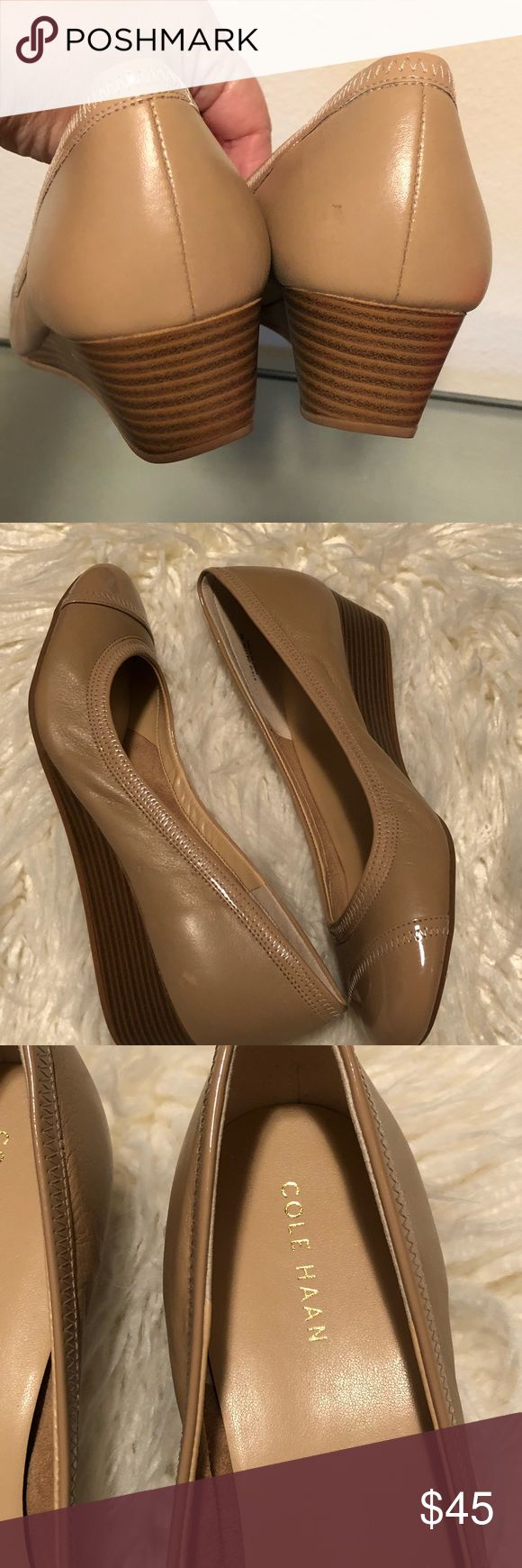 Cole Haan wedges size 8 Cole Haan Wedge  Cream/tan color Size 8 EUC condition Cole Haan Shoes Wedges