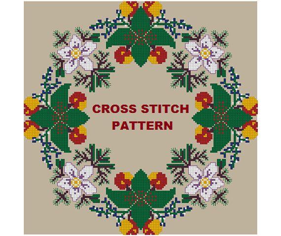 Christmas Wreath Cross stitch Pattern, Christmas Holiday tablecloth, Pattern pdf, Xmas, Christmas Ornament, Decor, gift, Handmade